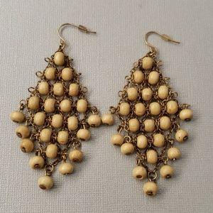 Wooden beaded earrings.